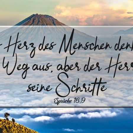 Sprüche 16,9: Das Herz des Menschen denkt sich seinen Weg aus, aber der Herr lenkt seine Schritte.